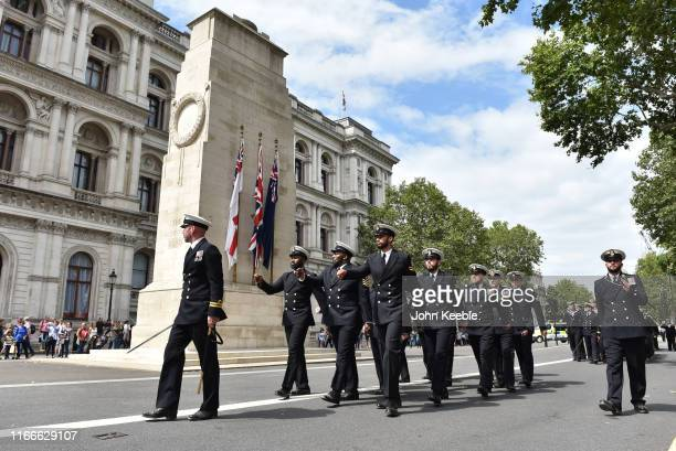 Crew members from HMS Westminster march past the Cenotaph in Whitehall as they exercise their Freedom of the City on August 07 2019 in London England...