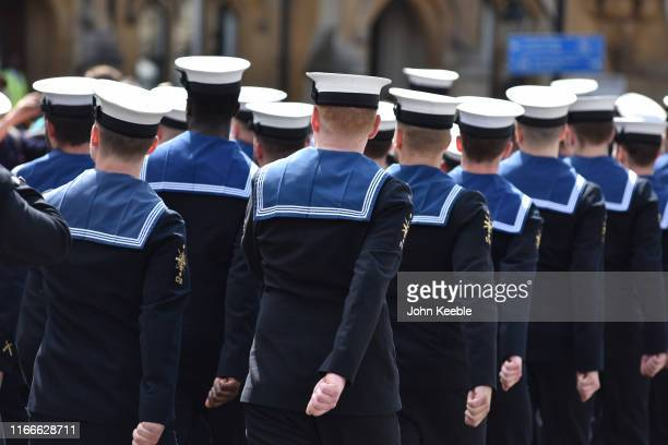 """Crew members from HMS Westminster parade at Horse Guards Parade as they exercise their """"Freedom of the City"""" on August 07, 2019 in London, England...."""