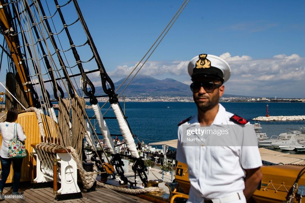 Crew members of Italian sailing ship Amerigo Vespucci in Naples, Italy, October on 06, 2017.