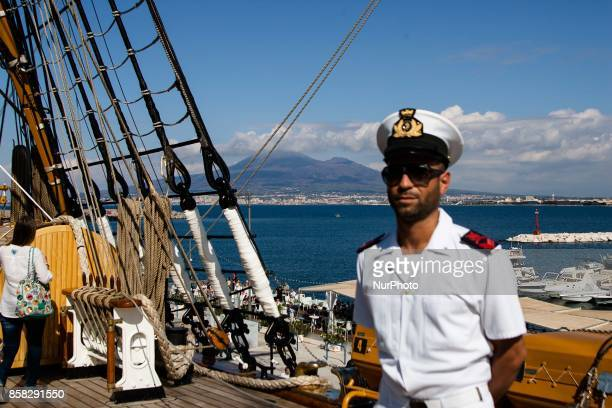 Crew members of Italian sailing ship Amerigo Vespucci in Naples Italy October on 06 2017