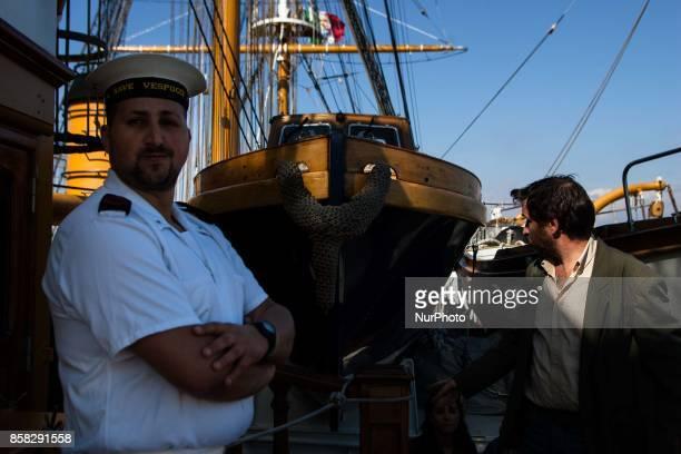 Crew members of Italian sailing ship Amerigo Vespucci in Naples Italy October on 06 2017