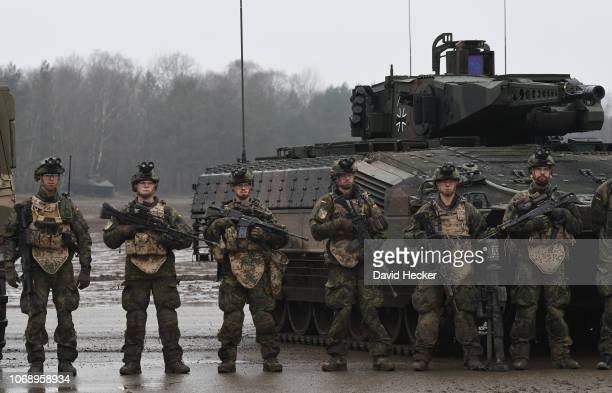 Crew members of the armored personnel carrier Puma of the German Bundeswehr during a training at the Bundeswehr infantry training facility on...