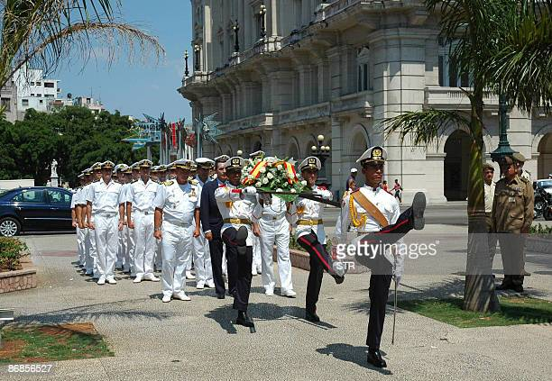 Crew members of the Spanish Navy training ship Juan Sebastian Elcano participate in a wreathlaying ceremony at the Jose Marti monument in Havana's...