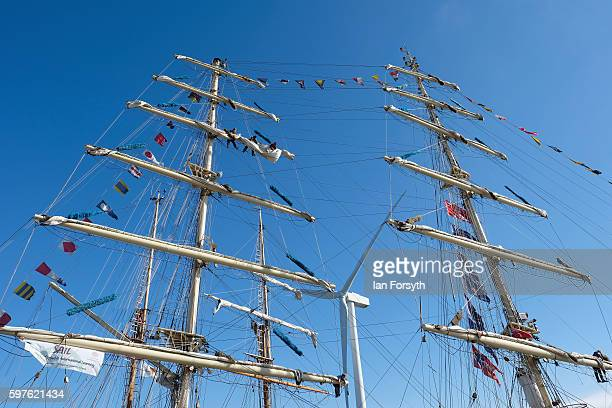 Crew members prepare the sails and rigging before leaving Blyth harbour during the North Sea Tall Ships Parade of Sail on August 29 2016 in Blyth...