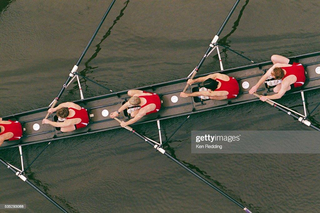 Crew Members Rowing : Stock Photo