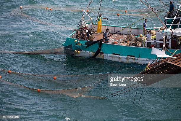 Crew members work on the Capitan Maravilla shrimping boat in the waters near Dautillos Mexico on Wednesday Sept 30 2015 A summer ban on shrimp...