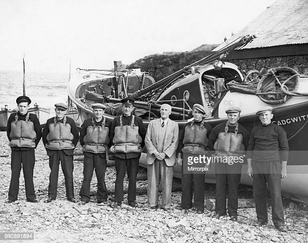 Crew of Lifeboat 'Guide of Dunkirk' Cadgwith Cornwall 12th June 1947 L to right Harry Putt Alfie Stephens Will Arthur Fred Stephens COX Watson Sec...