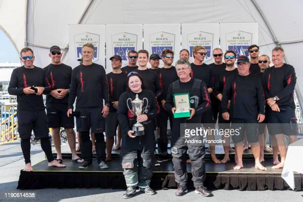 Crew of supermaxi Comanche line honour winner of the 2019 Sydney to Hobart race in Hobart on December 28 2019 in Hobart Australia