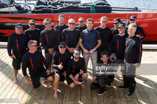 Crew of supermaxi Comanche line honour winner of the 2019 Sydney to Hobart race in Hobart with Formula 1 pilot Mark Weber on December 28 2019 in...