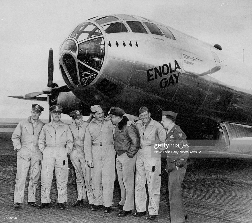 Crew of the Enola Gay, the infamous B-29 plane from which the first atom bomb was dropped. (Left to right) Major Thomas W. Ferebee, Col. Paul W. Tibbetts Jr., Major Theodore J. Van Kirk, Capt. Kermit Beahan, Capt. Robert Lewis, Sergt. Wyatt E. Duzenbury and Sergt. George Caron.