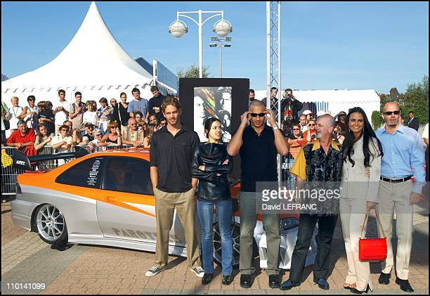 """Crew of the movie """"The fast and the fury"""" at Deauville film festival in Deauville, France on September 01, 2001 - In the photo: Jordana Brewster,..."""