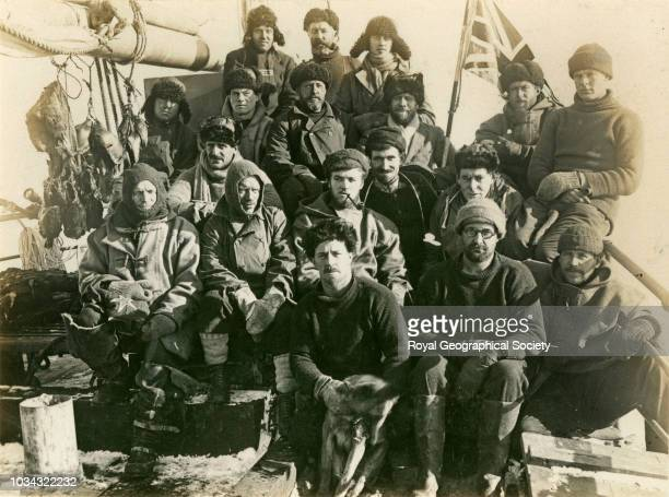 Crew of the 'Quest', Persons shown: - J.W.S. Marr, G.H. Ross, C. Naisbitt, J.W. Dell, T.A. McLeod, H.A. Argles, S.S. Young , H. Watts, C.R. Carr,...