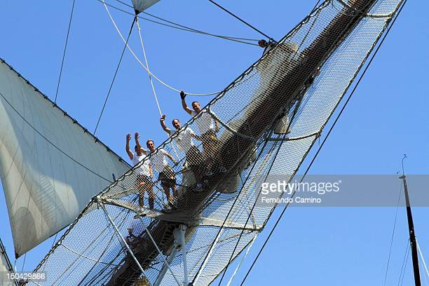 Crew of the Schooner Spanish school Juan Sebastian de Elcano Class A of 1927 takes part in the Gran Regata Cadiz Yatch Race on July 29 2012 in Cadiz...