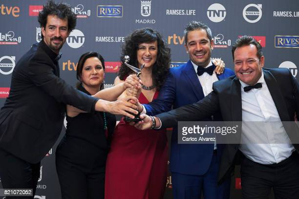 Crew of the series 'Cuatro Estaciones en la Habana' receive the 'Best TV Series' award during the 'Platino Awards 2017' at La Caja Magica on July 22...