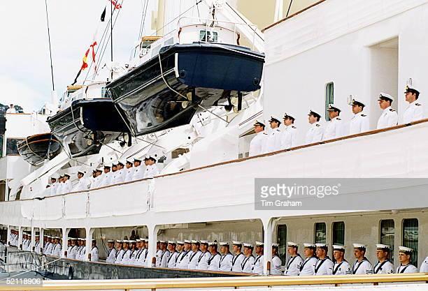 Crew On Board Royal Yacht Britannia Wearing Tropical White Naval Uniformscirca 1990s