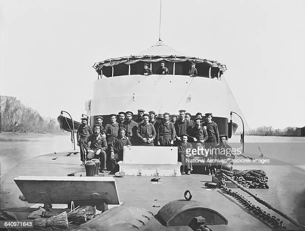 crew on monitor uss saugus during the american civil war. - old frigate stock photos and pictures