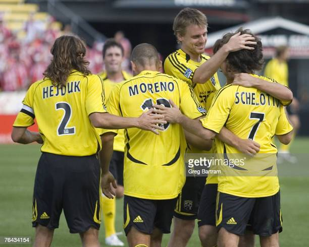 Crew players celebrate Guillermo Barros Schelotto's second goal of the game at home against Toronto FC on July 22 2007 The Crew won the game 20
