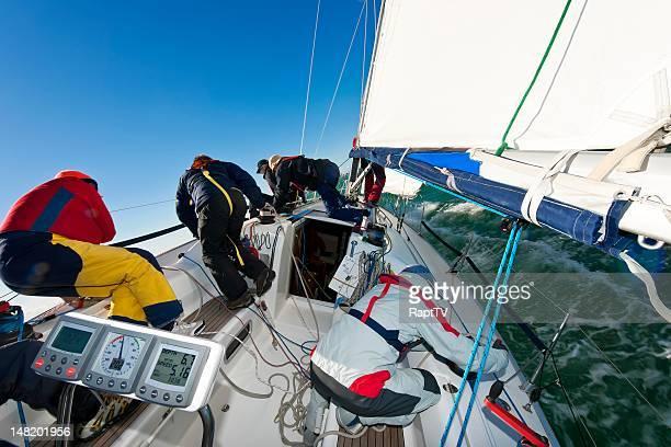Crew racing Ocean going Yacht.