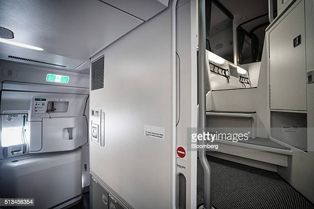 A crew rest area stands in an Airbus SE A350 aircraft operated by Singapore Airlines Ltd during an arrival ceremony at Changi Airport in Singapore on...