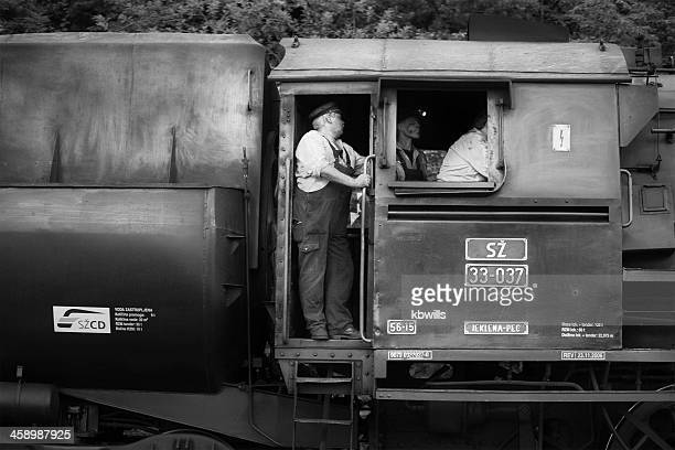 crew shunting an old fashioned steam train in slovenia - stoking stock pictures, royalty-free photos & images