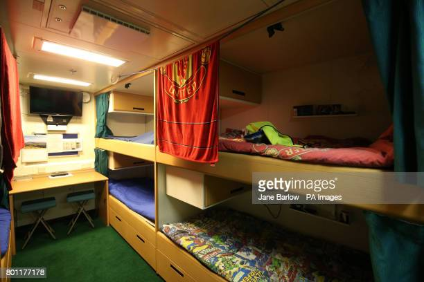 Crew sleeping quarters below deck ahead of sea trials this summer for the Royal Navy's new aircraft carrier HMS Queen Elizabeth at Rosyth Dockyard in...