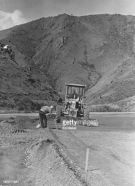 MAY 10 1966 MAY 17 1966 MAY 18 1966 Crew Working on Interstate 70 Link at Golden Donald Polivka left moves stake so George Lesser in road grader can...