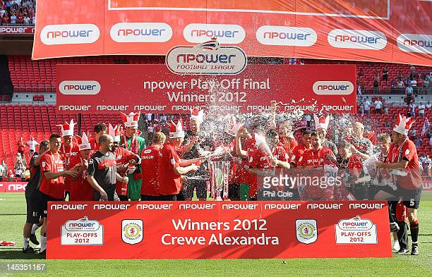 Crewe Alexandra celebrate winning the npower League two playoff final between Cheltenham Town and Crewe Alexandra at Wembley Stadium on May 27 2012...