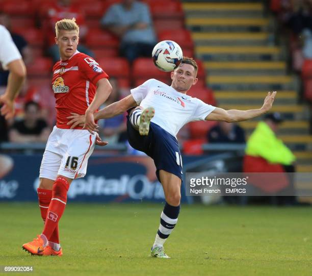 Crewe Alexandra's Adam King and Preston North End's Alan Browne battle for the ball