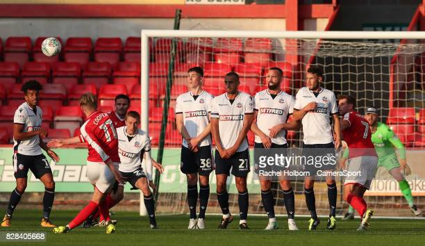 Crewe Alexandra's George Cooper takes a free kick outside the box and misses during the Carabao Cup First Round match between Crewe Alexandra and...