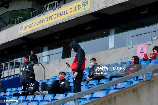 Crewe players after finding out the match has been called off due Crewe player testing positive for Covid-19 during the Sky Bet League 1 match...