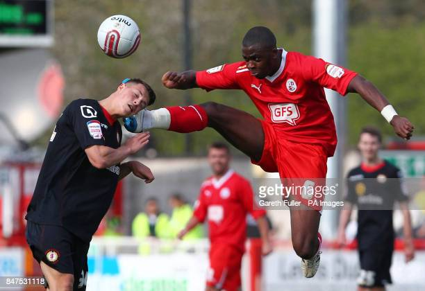 CROP* Crewe's Billy Bodin is challenged by Crawley's Hope Akpan during the npower Football League Two match at the Broadfield Stadium Crawley