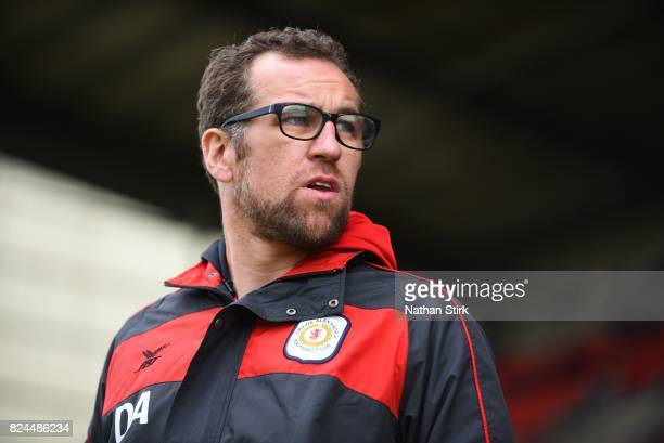 Crewe's manager David Artell looks on during the preseason friendly match between Crewe Alexandra and Stoke City at The Alexandra Stadium on July 30...