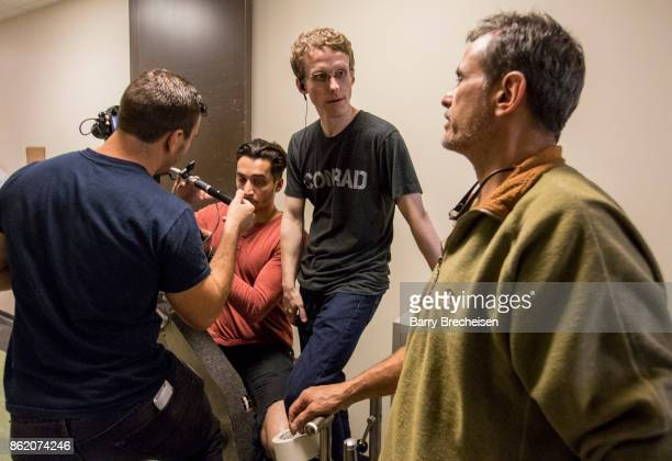 Crewmembers Alex Cirillo Akbar Razo Ryan Atkins and Director Phil Contursi on location for 'Conrad' a new crime drama that focuses on women...