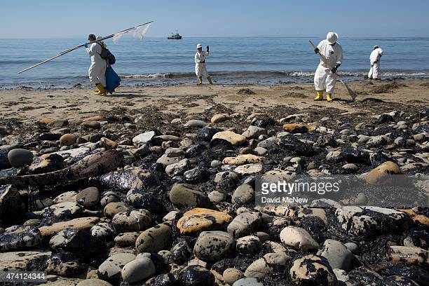 Crews clean up oil and look for distressed wildlife at Refugio State Beach on May 20 2015 north of Goleta California About 21000 gallons spilled from...