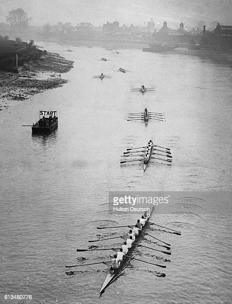 121 Crews Compete In Ninth Annual Head Of The River Race On The Thames From Mortlake To Putney A striking general view taken from Chiswick Bridge of...