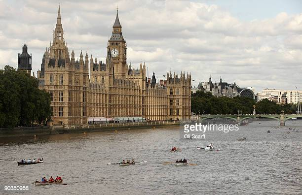 Crews compete in the annual 'Great River Race' a 22 mile rowing race on the River Thames from the Docklands to Richmond on September 5 2009 in London...
