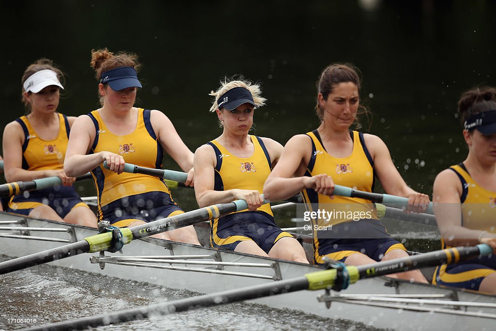 Crews compete on the first day of the Henley Women's Regatta on June 21, 2013 in Henley-on-Thames, England. The annual 3-day event, which has taken place since 1988, sees female crews from the UK and abroad compete on the Henley Royal Regatta course. In the past, several female rowers who have enjoyed success at the Henley Women's Regatta have gone on to win Olympic medals in the sport.