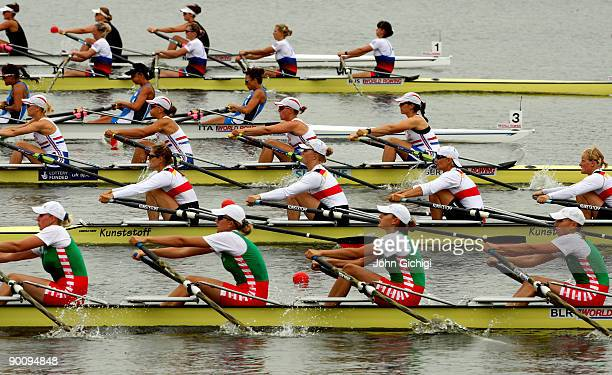 Crews from New Zealand Russia Italy Great Britain Germany and Belarus race in the Women's Quadruple Sculls on day four of the World Rowing...