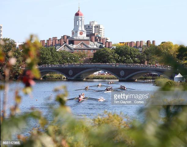 Crews in action during The 53rd Head of the Charles Regatta on the Charles River which separates Boston and Cambridge Massachusetts USA The Head of...