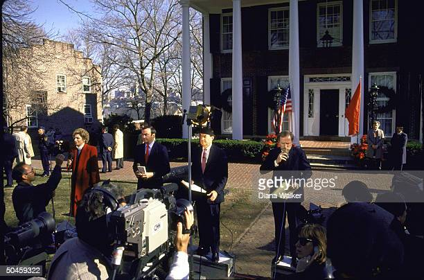 TV crews incl Sam Donaldson Andrea Mitchell Bill Plante CNN News report where Pres Reagan Soviet ldr Gorbachev Preselect Bush are meeting on Gov's...