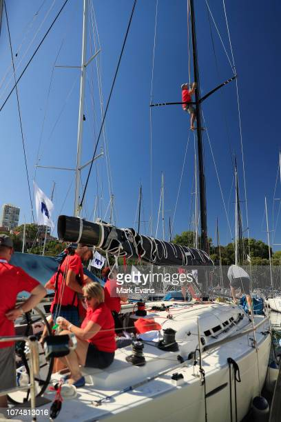 Crews make last minute adjustments at the Royal Cruising Yachy Club Rushcutters Bay before the start of the 2019 Sydney to Hobart race on Sydney...