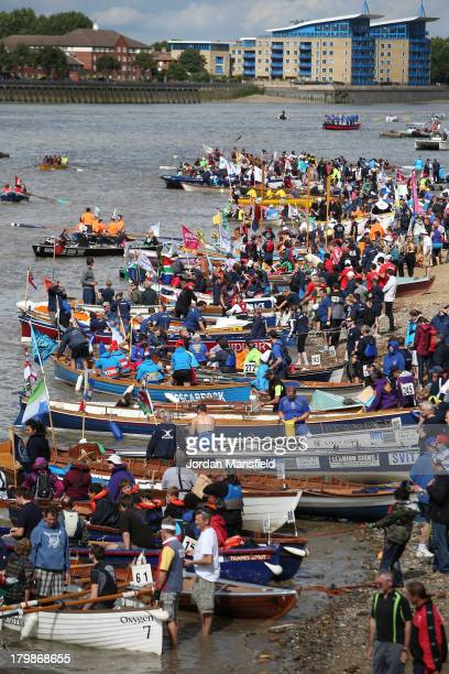 Crews prepare their boats for the annual 'Great River Race' a 22 mile rowing race on the River Thames from the Docklands to Richmond on September 7...