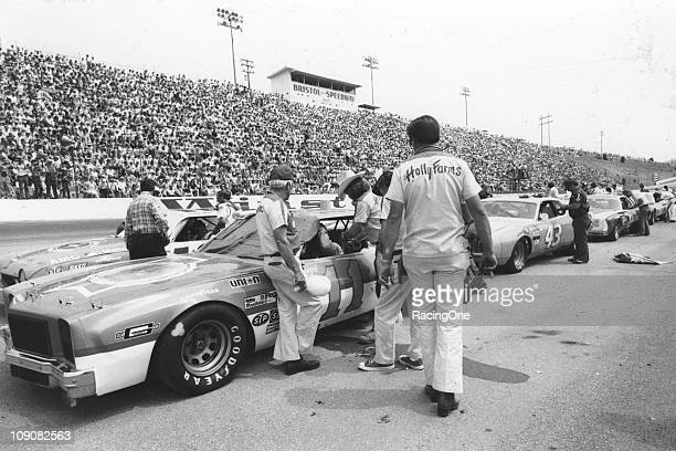 Crews prepare their cars on pit road prior to the start of the Southeastern 500 NASCAR Cup race at Bristol International Speedway Eventual winner...