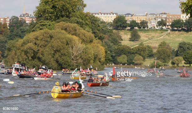 Crews row along the River Thames during the Great River Race on September 13 2008 in London England Olympic rowing gold medal winner Steve Williams...