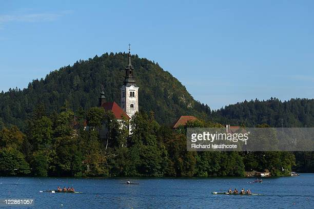 Crews take part in a training session during day two of the FISA Rowing World Championships at Lake Bled on August 29 2011 in Bled Slovenia