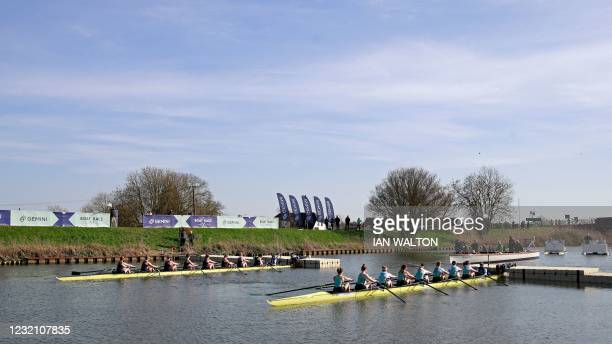 Crews wait at start, during the 75th annual women's boat race between Oxford University and Cambridge University on the River Great Ouse in Ely,...