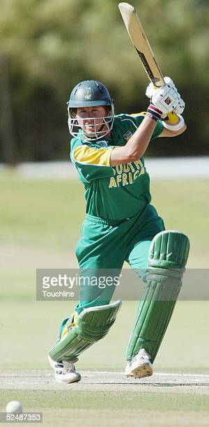 Cri Zelda Brits of South Africa plays a shot during the International Womens Cricket World Cup match between South Africa and Australia at the LC...