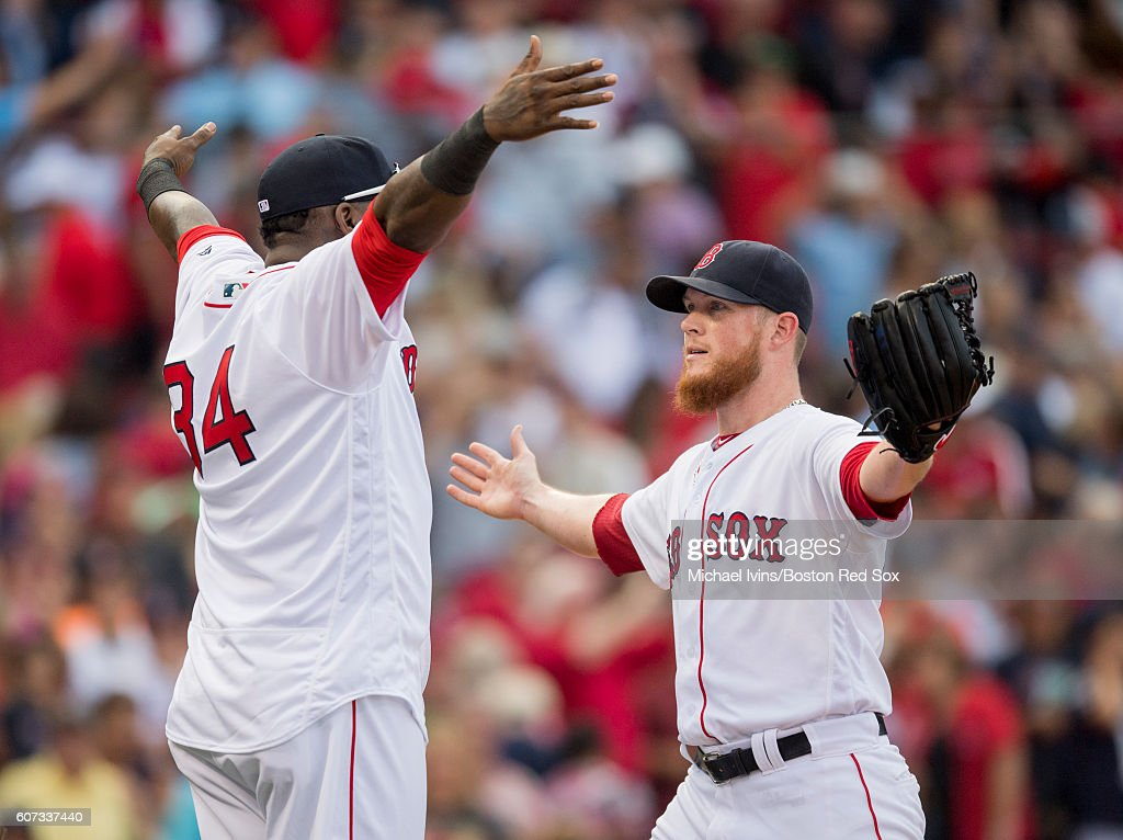 Criag Kimbrel #46 of the Boston Red Sox hugs David Ortiz #34 after closing out a 6-5 win over the New York Yankees on September 17, 2016 at Fenway Park in Boston, Massachusetts.