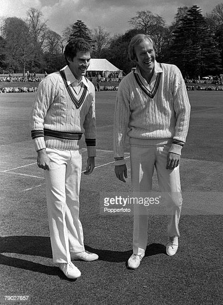 Cricket 28th April Lavinia Duchess of Norfolk's XI v Australia Arundel England Australian captain Greg Chappell with Tony Greig