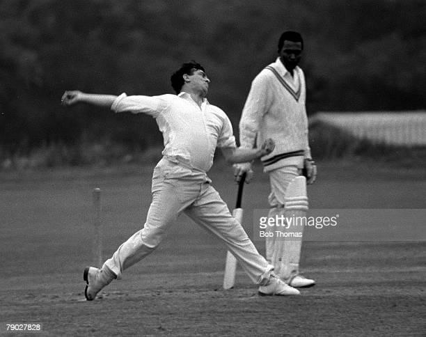 Cricket 31st August Barbados v Cavaliers Legendary English fast bowler Fred Trueman bowling for the Cavaliers